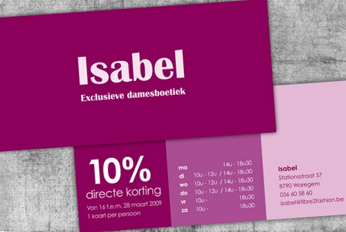Direct mail Boetiek Isabel