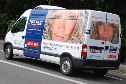 Belettering wagenpark Delrue Rent Services