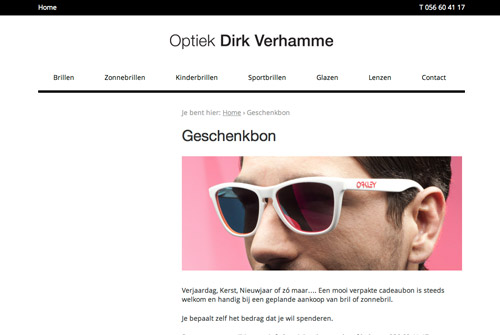 Website Optiek Dirk Verhamme